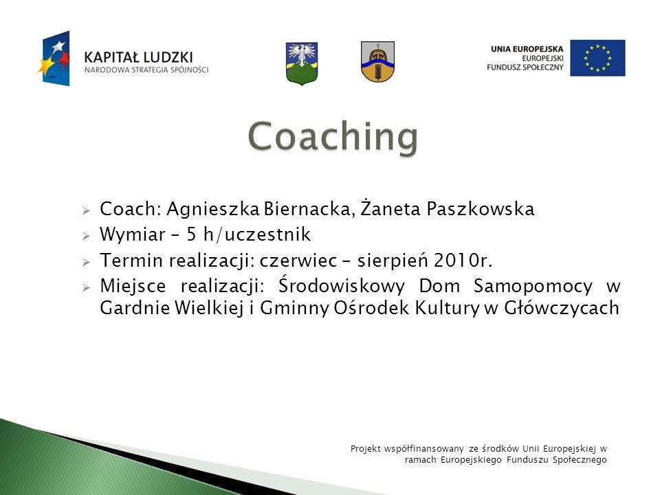 Coach: Agnieszka Biernacka, Żaneta Paszkowska Wymiar – 5 h/uczestnik Termin realizacji: czerwiec – sierpień 2010r. Miejsce realizacji: Środowiskowy Do