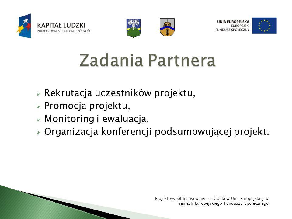 Rekrutacja uczestników projektu, Promocja projektu, Monitoring i ewaluacja, Organizacja konferencji podsumowującej projekt. Projekt współfinansowany z