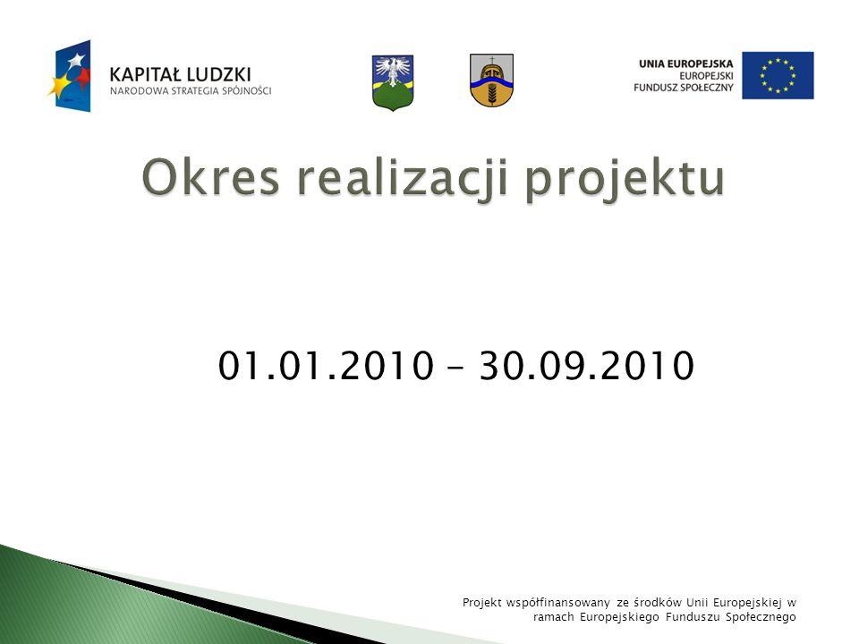 01.01.2010 – 30.09.2010 Projekt współfinansowany ze środków Unii Europejskiej w ramach Europejskiego Funduszu Społecznego