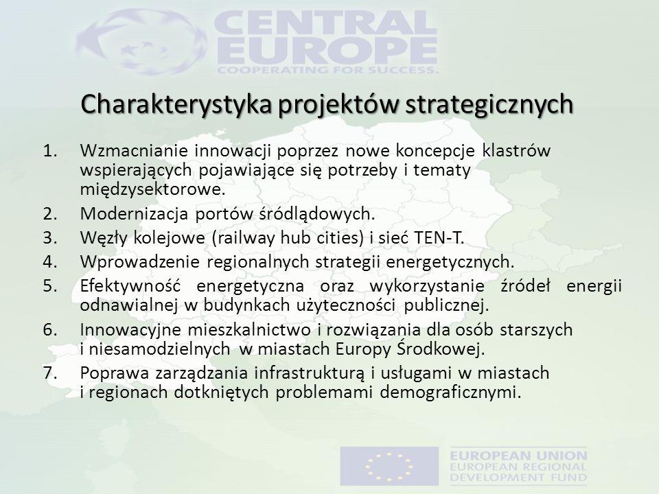 Charakterystyka projektów strategicznych 1.Wzmacnianie innowacji poprzez nowe koncepcje klastrów wspierających pojawiające się potrzeby i tematy międz