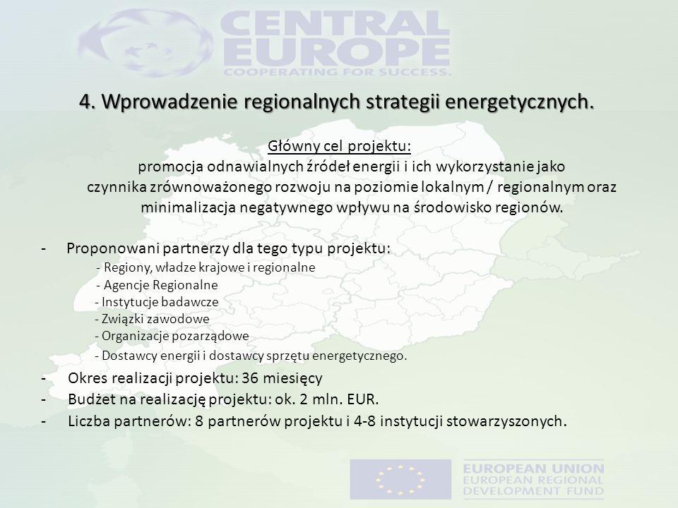 4. Wprowadzenie regionalnych strategii energetycznych. Główny cel projektu: promocja odnawialnych źródeł energii i ich wykorzystanie jako czynnika zró