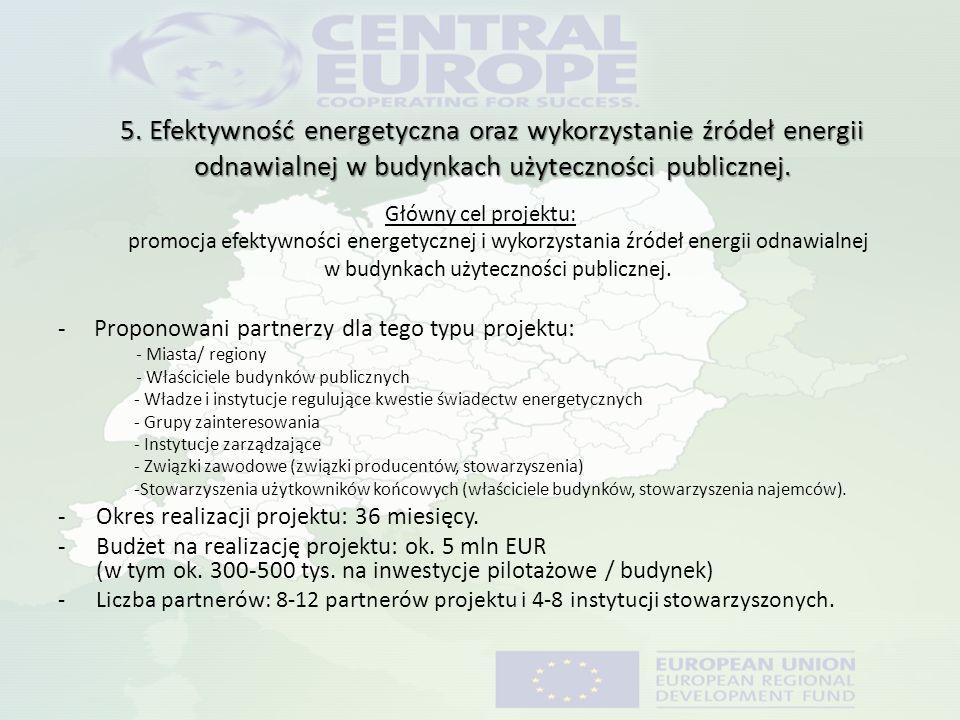 5. Efektywność energetyczna oraz wykorzystanie źródeł energii odnawialnej w budynkach użyteczności publicznej. Główny cel projektu: promocja efektywno