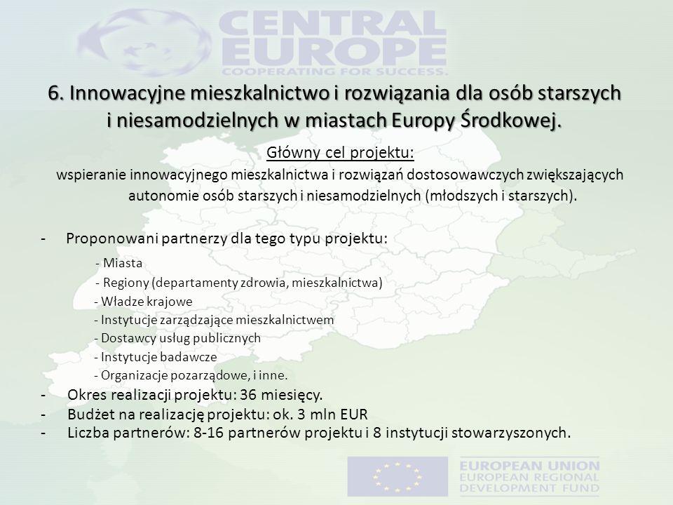 6. Innowacyjne mieszkalnictwo i rozwiązania dla osób starszych i niesamodzielnych w miastach Europy Środkowej. Główny cel projektu: wspieranie innowac