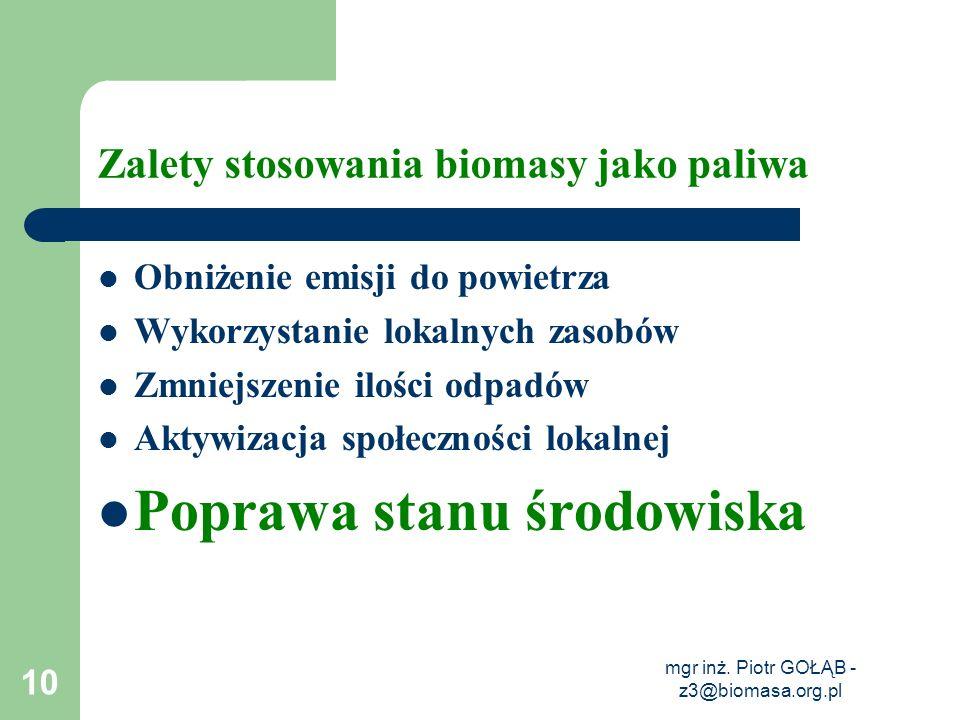 mgr inż. Piotr GOŁĄB - z3@biomasa.org.pl 10 Zalety stosowania biomasy jako paliwa Obniżenie emisji do powietrza Wykorzystanie lokalnych zasobów Zmniej