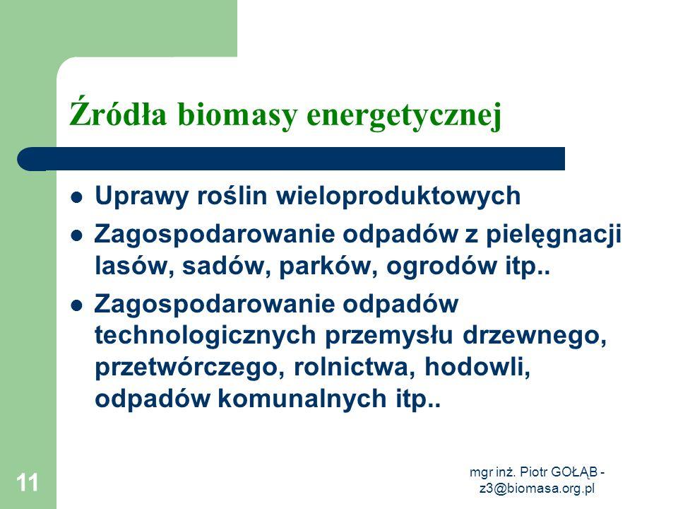 mgr inż. Piotr GOŁĄB - z3@biomasa.org.pl 11 Źródła biomasy energetycznej Uprawy roślin wieloproduktowych Zagospodarowanie odpadów z pielęgnacji lasów,