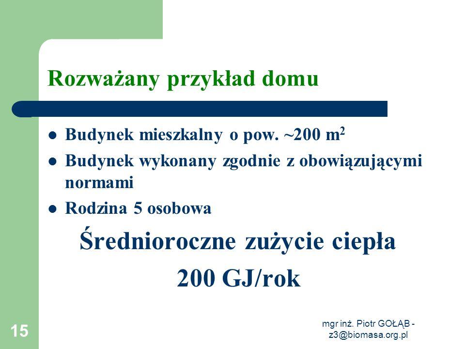 mgr inż. Piotr GOŁĄB - z3@biomasa.org.pl 15 Rozważany przykład domu Budynek mieszkalny o pow. ~200 m 2 Budynek wykonany zgodnie z obowiązującymi norma