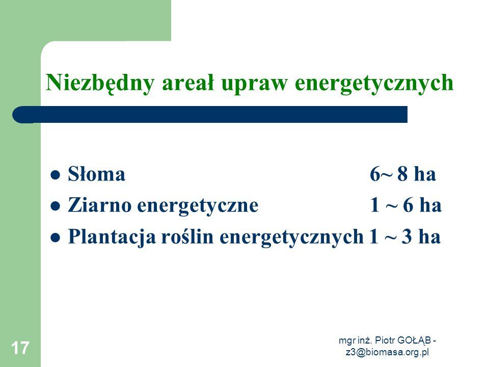 mgr inż. Piotr GOŁĄB - z3@biomasa.org.pl 17 Niezbędny areał upraw energetycznych Słoma 6~ 8 ha Ziarno energetyczne 1 ~ 6 ha Plantacja roślin energetyc