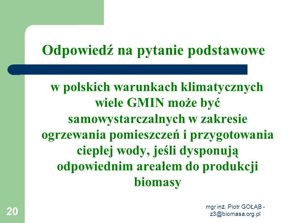mgr inż. Piotr GOŁĄB - z3@biomasa.org.pl 20 Odpowiedź na pytanie podstawowe w polskich warunkach klimatycznych wiele GMIN może być samowystarczalnych