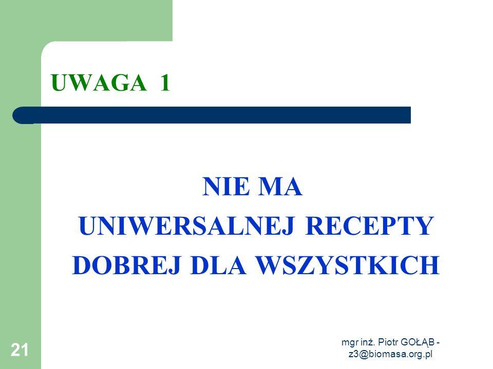 mgr inż. Piotr GOŁĄB - z3@biomasa.org.pl 21 UWAGA 1 NIE MA UNIWERSALNEJ RECEPTY DOBREJ DLA WSZYSTKICH