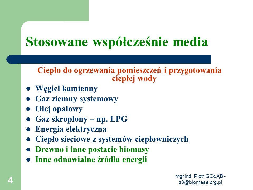 mgr inż. Piotr GOŁĄB - z3@biomasa.org.pl 4 Stosowane współcześnie media Ciepło do ogrzewania pomieszczeń i przygotowania ciepłej wody Węgiel kamienny