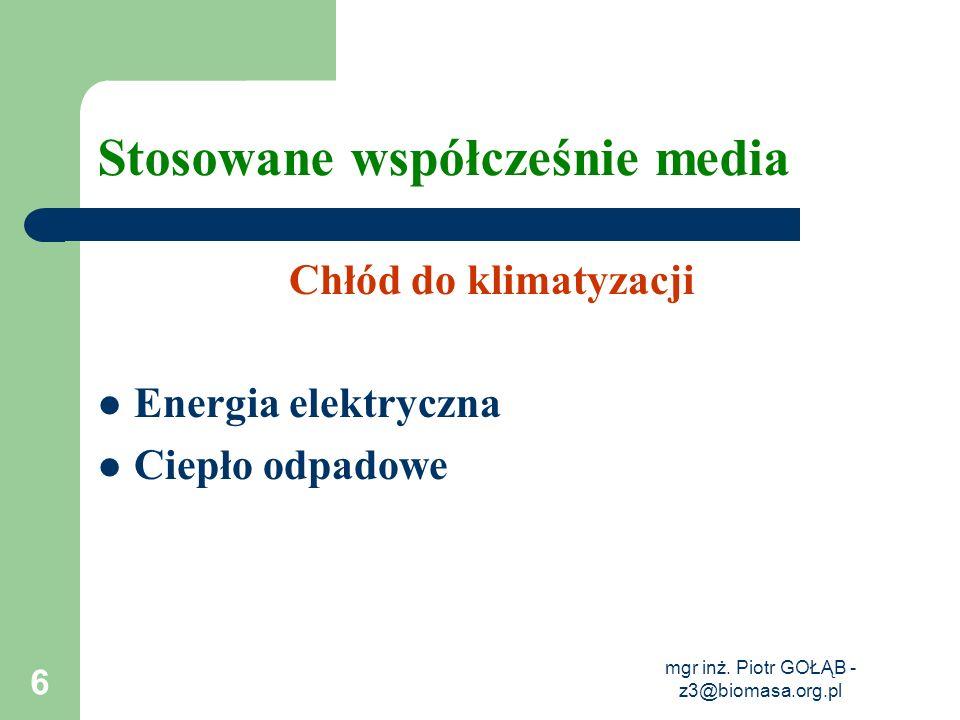 mgr inż. Piotr GOŁĄB - z3@biomasa.org.pl 6 Stosowane współcześnie media Chłód do klimatyzacji Energia elektryczna Ciepło odpadowe