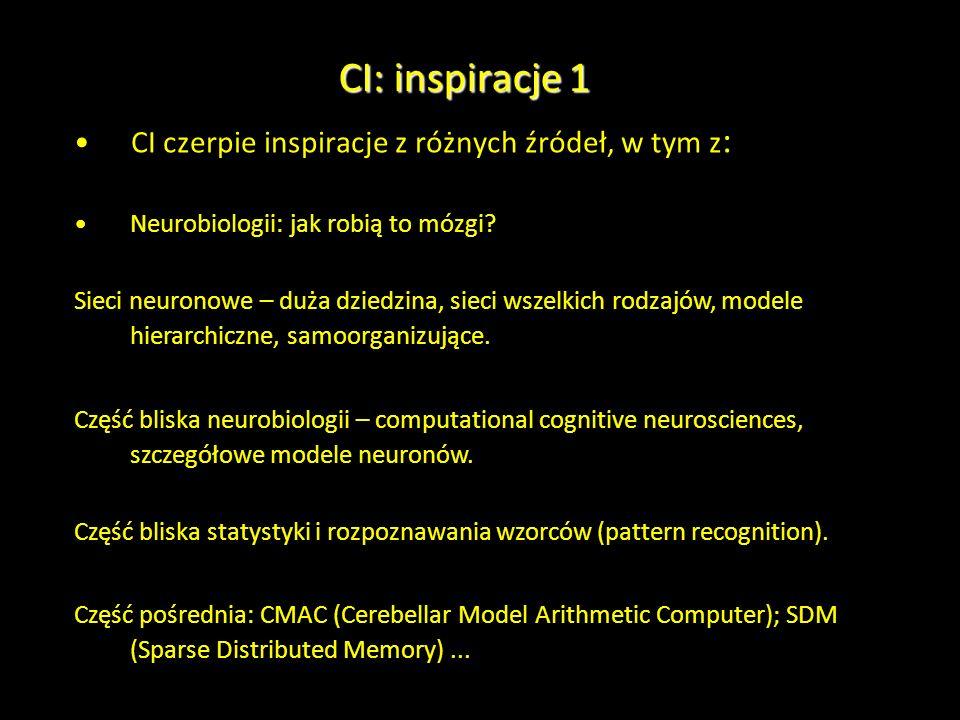 CI: inspiracje 1 CI czerpie inspiracje z różnych źródeł, w tym z : Neurobiologii: jak robią to mózgi? Sieci neuronowe – duża dziedzina, sieci wszelkic