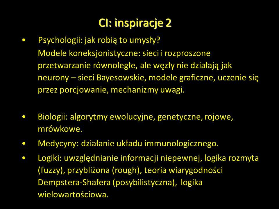 CI: inspiracje 2 Psychologii: jak robią to umysły? Modele koneksjonistyczne: sieci i rozproszone przetwarzanie równoległe, ale węzły nie działają jak