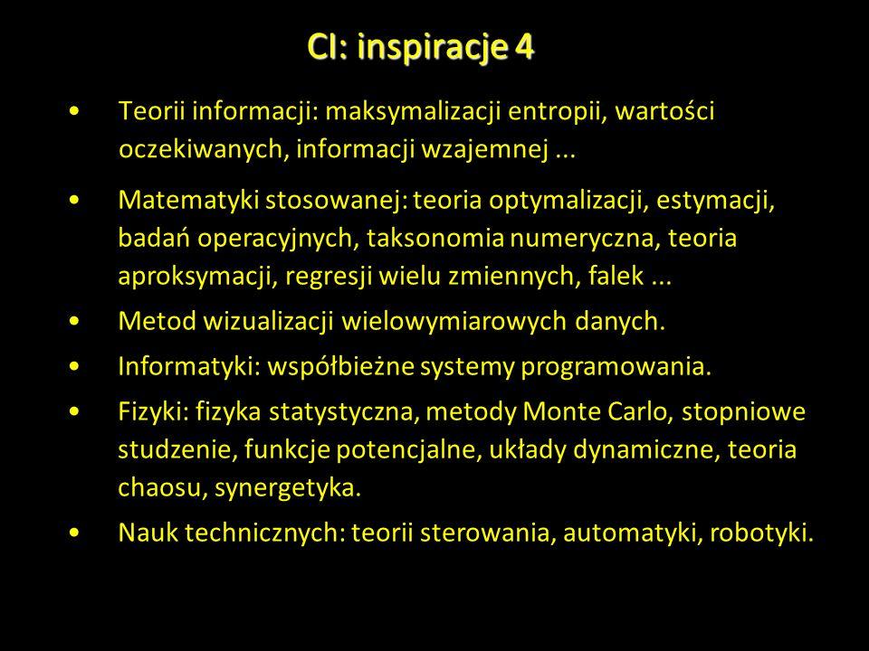 CI: inspiracje 4 Teorii informacji: maksymalizacji entropii, wartości oczekiwanych, informacji wzajemnej... Matematyki stosowanej: teoria optymalizacj