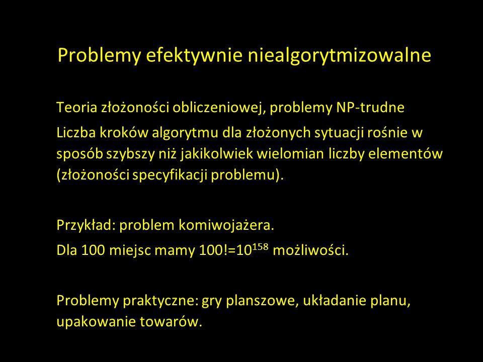Problemy efektywnie niealgorytmizowalne Teoria złożoności obliczeniowej, problemy NP-trudne Liczba kroków algorytmu dla złożonych sytuacji rośnie w sp