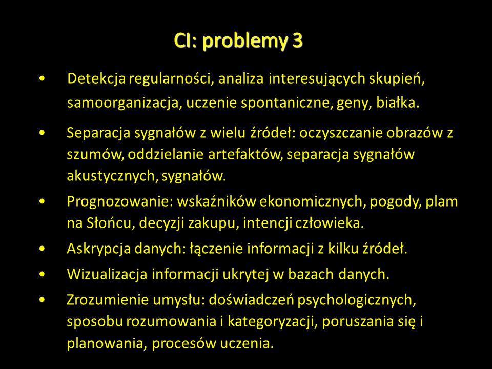 CI: problemy 3 Detekcja regularności, analiza interesujących skupień, samoorganizacja, uczenie spontaniczne, geny, białka. Separacja sygnałów z wielu