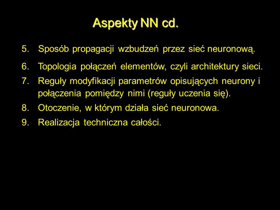 Aspekty NN cd. 5.Sposób propagacji wzbudzeń przez sieć neuronową. 6.Topologia połączeń elementów, czyli architektury sieci. 7.Reguły modyfikacji param
