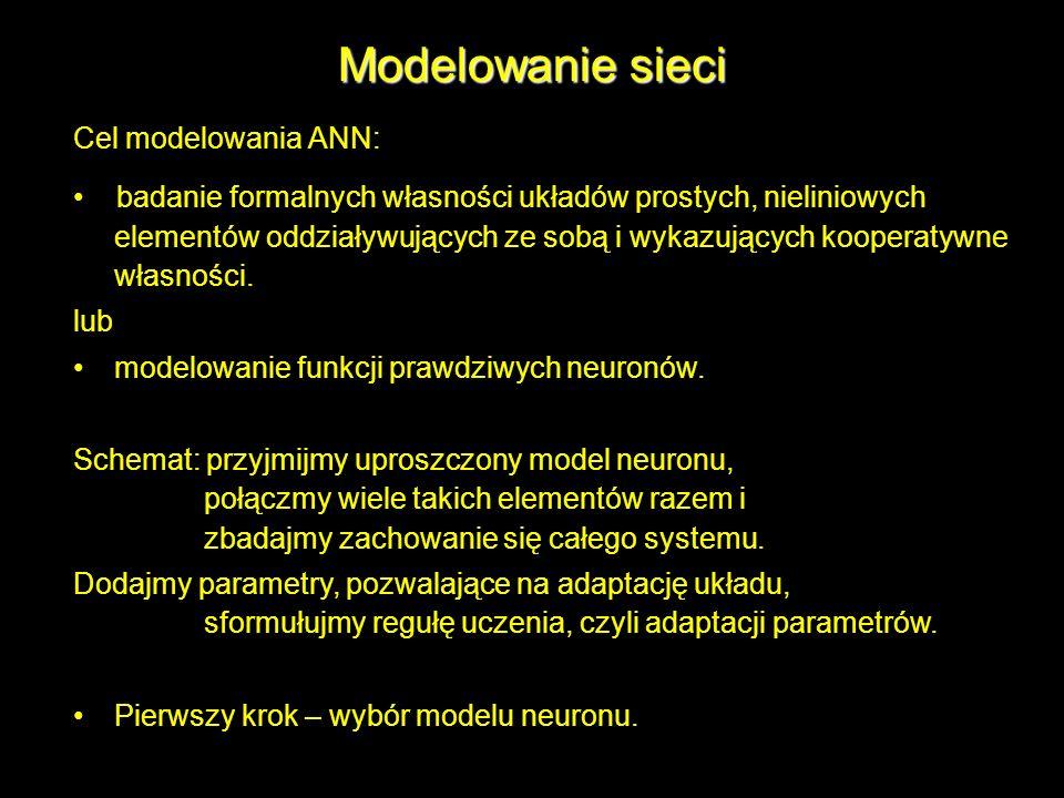 Modelowanie sieci Cel modelowania ANN: badanie formalnych własności układów prostych, nieliniowych elementów oddziaływujących ze sobą i wykazujących k