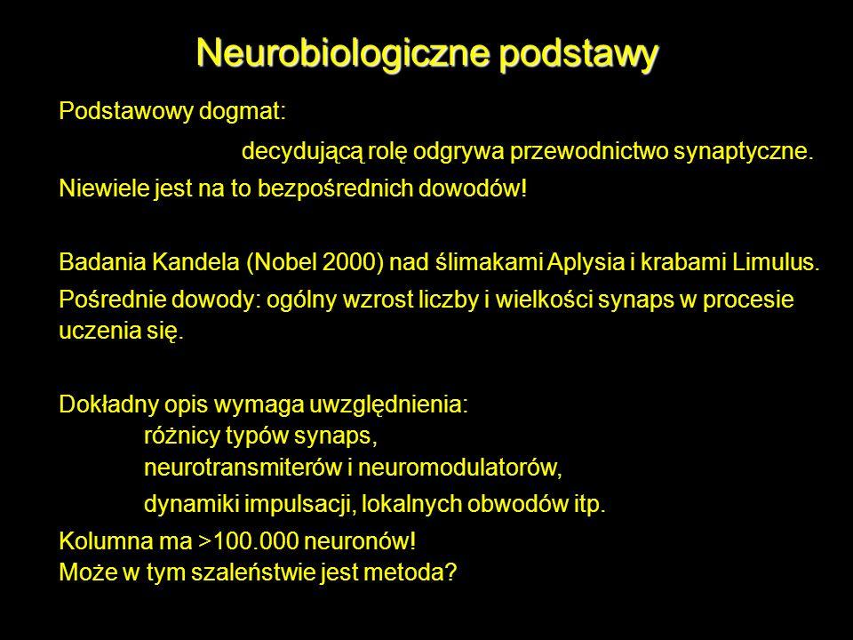 Neurobiologiczne podstawy Podstawowy dogmat: decydującą rolę odgrywa przewodnictwo synaptyczne. Niewiele jest na to bezpośrednich dowodów! Badania Kan