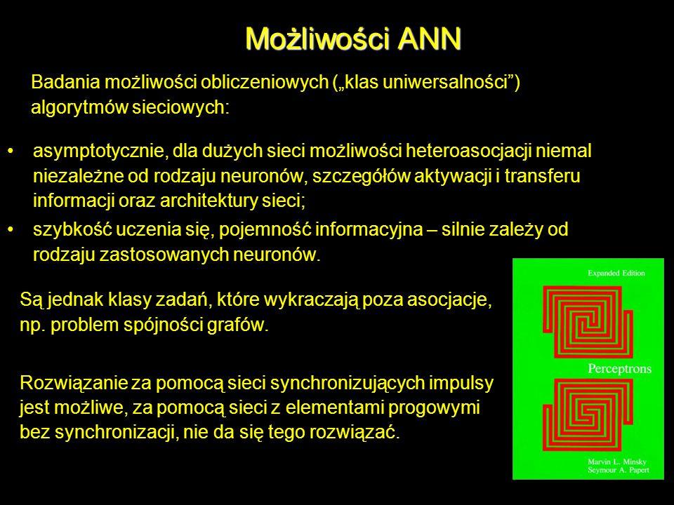 Możliwości ANN Badania możliwości obliczeniowych (klas uniwersalności) algorytmów sieciowych: asymptotycznie, dla dużych sieci możliwości heteroasocja
