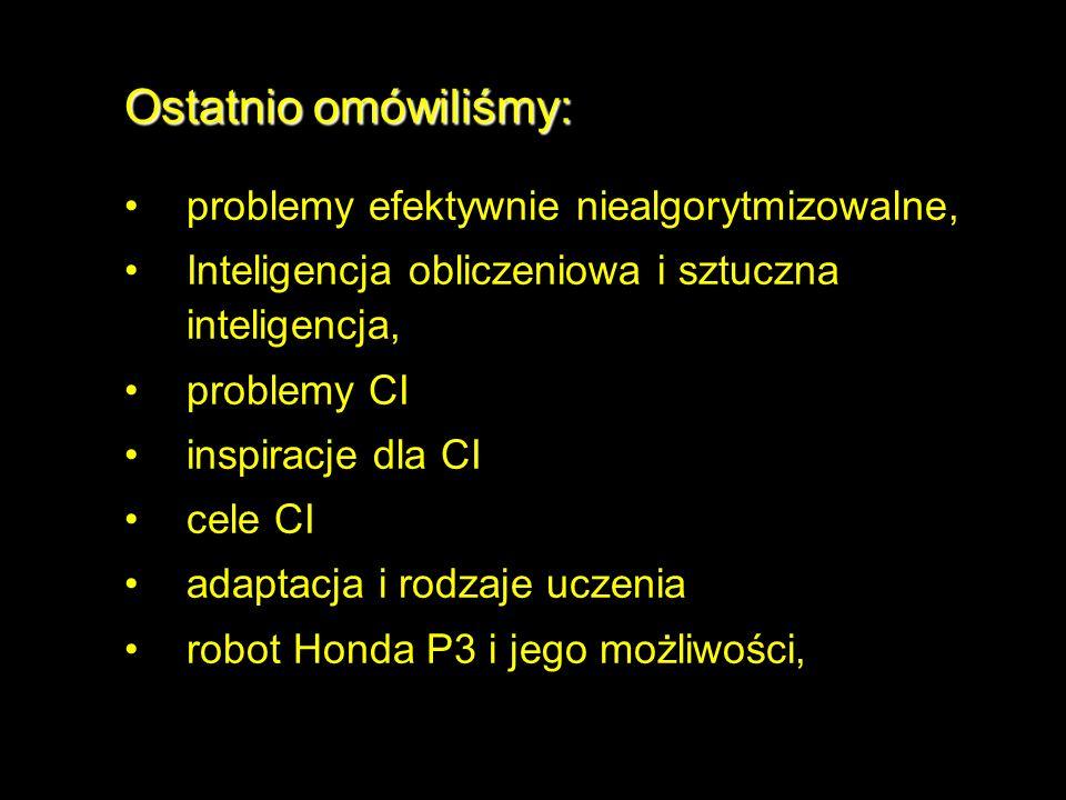 Ostatnio omówiliśmy: problemy efektywnie niealgorytmizowalne, Inteligencja obliczeniowa i sztuczna inteligencja, problemy CI inspiracje dla CI cele CI