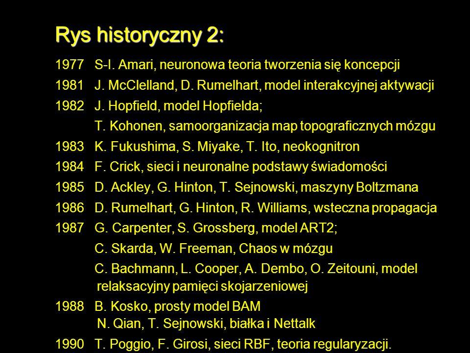 Rys historyczny 2: 1977 S-I. Amari, neuronowa teoria tworzenia się koncepcji 1981 J. McClelland, D. Rumelhart, model interakcyjnej aktywacji 1982 J. H