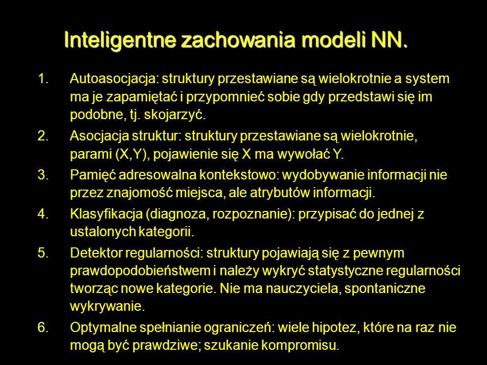 Inteligentne zachowania modeli NN. 1.Autoasocjacja: struktury przestawiane są wielokrotnie a system ma je zapamiętać i przypomnieć sobie gdy przedstaw