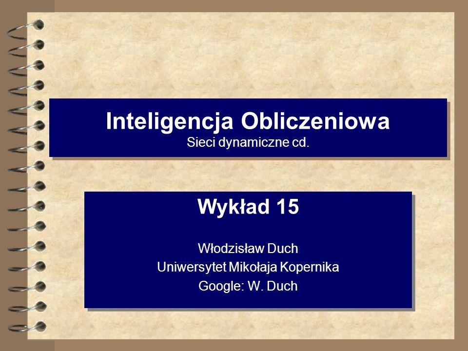 Inteligencja Obliczeniowa Sieci dynamiczne cd. Wykład 15 Włodzisław Duch Uniwersytet Mikołaja Kopernika Google: W. Duch Wykład 15 Włodzisław Duch Uniw
