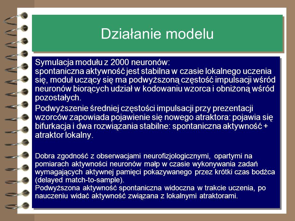 10 Działanie modelu Symulacja modułu z 2000 neuronów: spontaniczna aktywność jest stabilna w czasie lokalnego uczenia się, moduł uczący się ma podwyżs