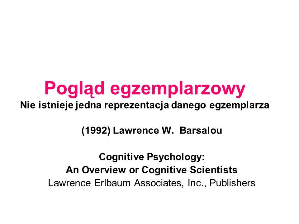 Pogląd egzemplarzowy Nie istnieje jedna reprezentacja danego egzemplarza (1992) Lawrence W.