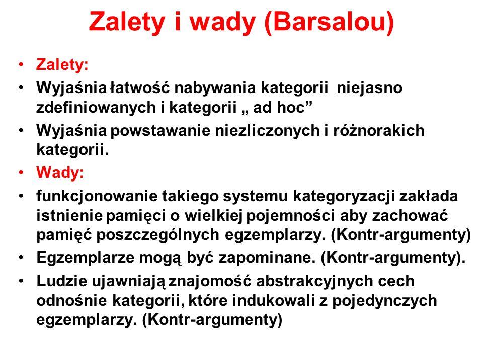 Zalety i wady (Barsalou) Zalety: Wyjaśnia łatwość nabywania kategorii niejasno zdefiniowanych i kategorii ad hoc Wyjaśnia powstawanie niezliczonych i różnorakich kategorii.