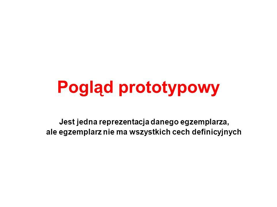 Pogląd prototypowy Jest jedna reprezentacja danego egzemplarza, ale egzemplarz nie ma wszystkich cech definicyjnych