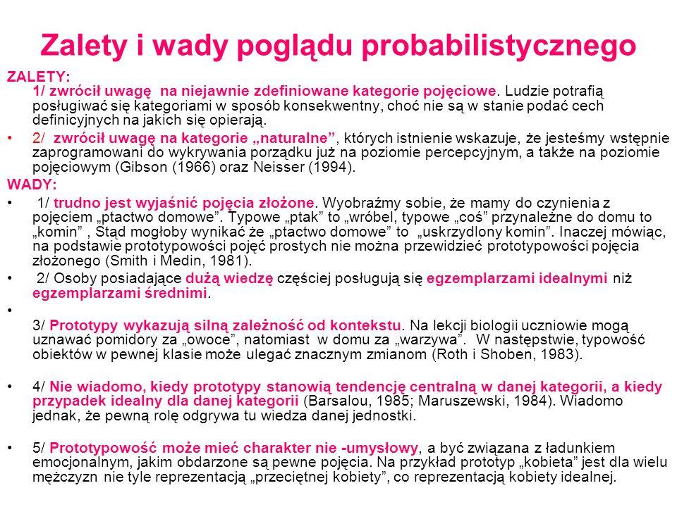 Zalety i wady poglądu probabilistycznego ZALETY: 1/ zwrócił uwagę na niejawnie zdefiniowane kategorie pojęciowe.