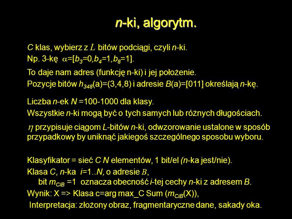 n-ki, algorytm. C klas, wybierz z L bitów podciągi, czyli n-ki. Np. 3-kę =[b 3 =0,b 4 =1,b 8 =1]. To daje nam adres (funkcję n-ki) i jej położenie. Po