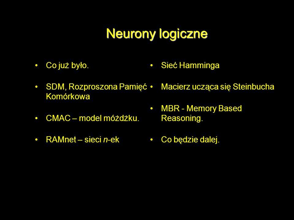 Neurony logiczne Co już było. SDM, Rozproszona Pamięć Komórkowa CMAC – model móżdżku. RAMnet – sieci n-ek Sieć Hamminga Macierz ucząca się Steinbucha