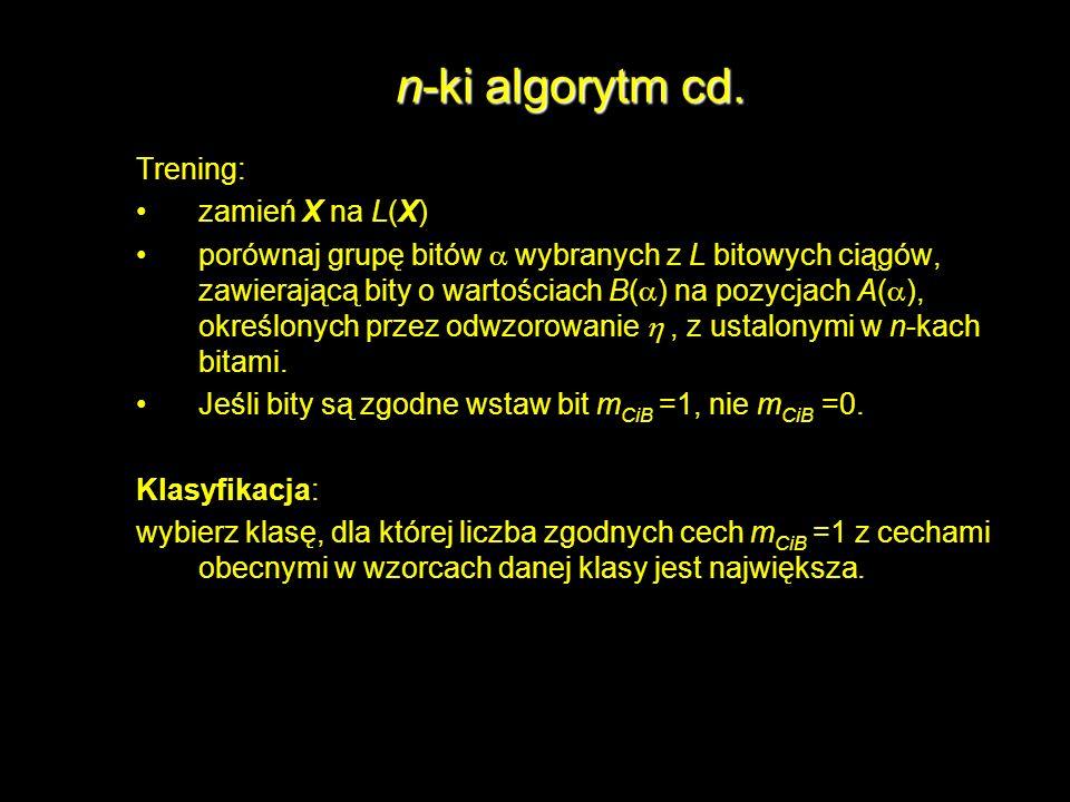 n-ki algorytm cd. Trening: zamień X na L(X) porównaj grupę bitów wybranych z L bitowych ciągów, zawierającą bity o wartościach B( ) na pozycjach A( ),