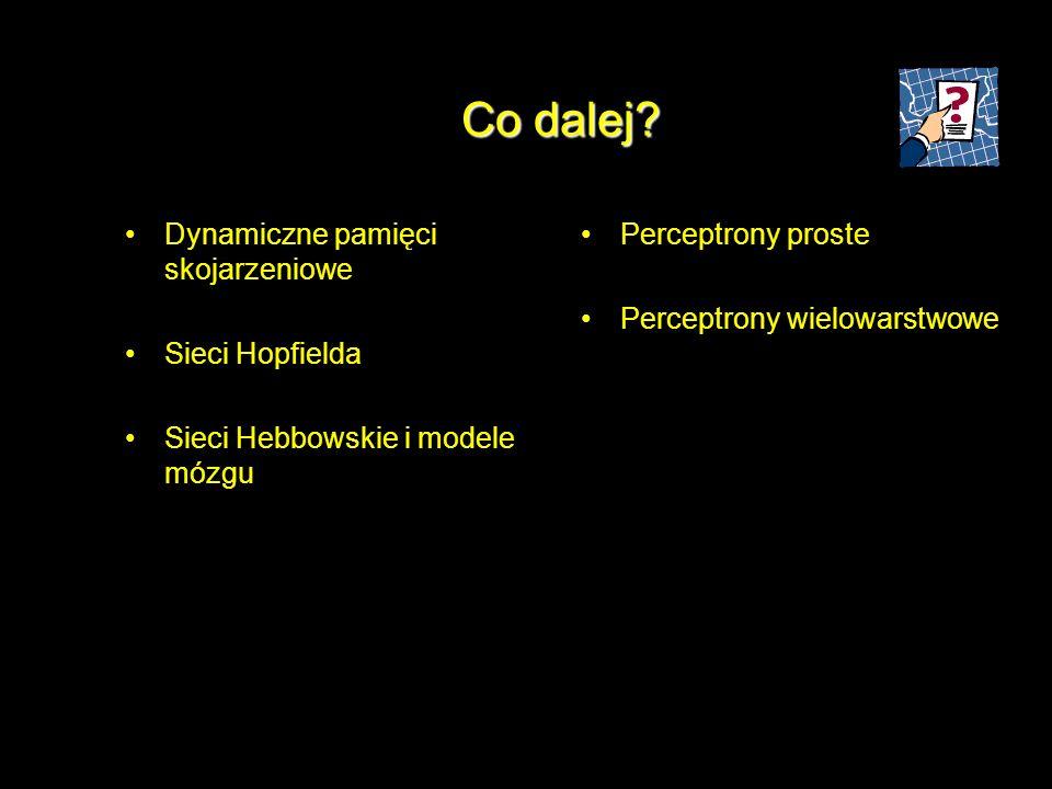 Co dalej? Dynamiczne pamięci skojarzeniowe Sieci Hopfielda Sieci Hebbowskie i modele mózgu Perceptrony proste Perceptrony wielowarstwowe
