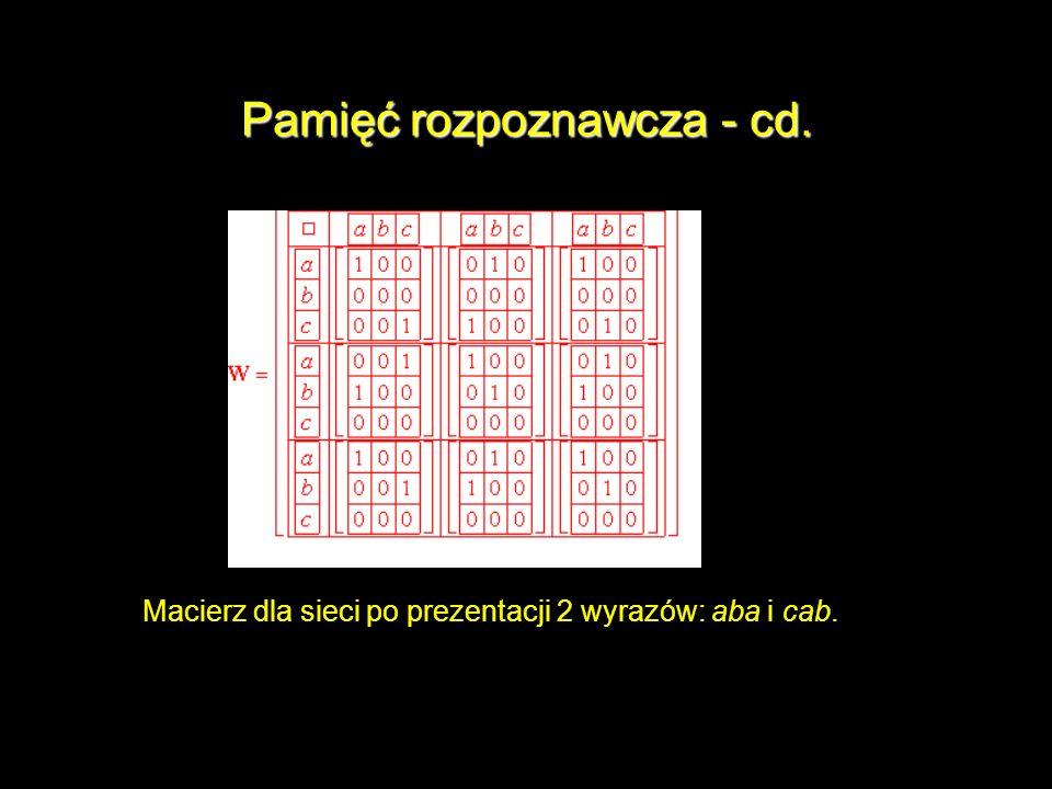 Pamięć rozpoznawcza - cd. Macierz dla sieci po prezentacji 2 wyrazów: aba i cab.