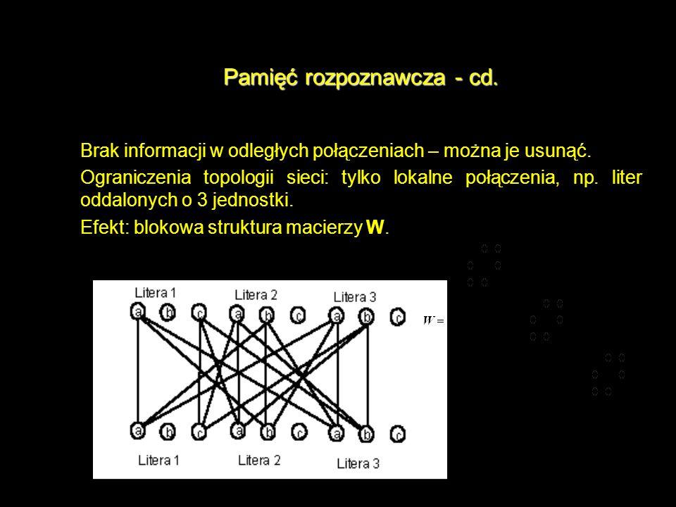 Pamięć rozpoznawcza - cd. Brak informacji w odległych połączeniach – można je usunąć. Ograniczenia topologii sieci: tylko lokalne połączenia, np. lite