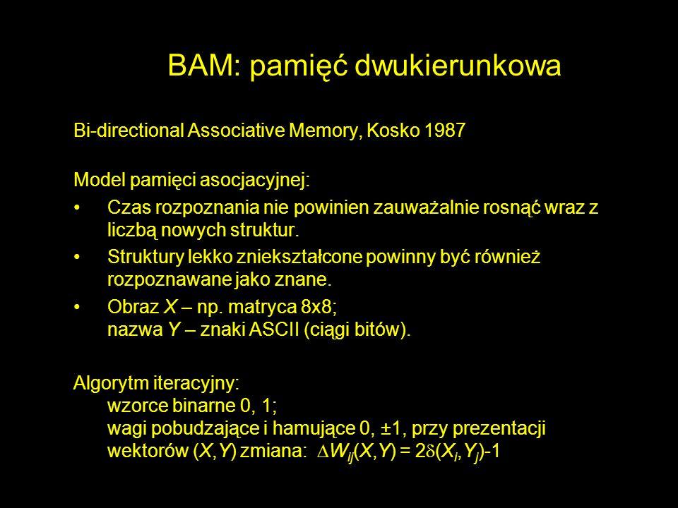 BAM: pamięć dwukierunkowa Bi-directional Associative Memory, Kosko 1987 Model pamięci asocjacyjnej: Czas rozpoznania nie powinien zauważalnie rosnąć w