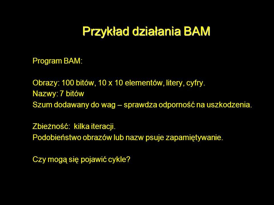 Przykład działania BAM Program BAM: Obrazy: 100 bitów, 10 x 10 elementów, litery, cyfry. Nazwy: 7 bitów Szum dodawany do wag – sprawdza odporność na u