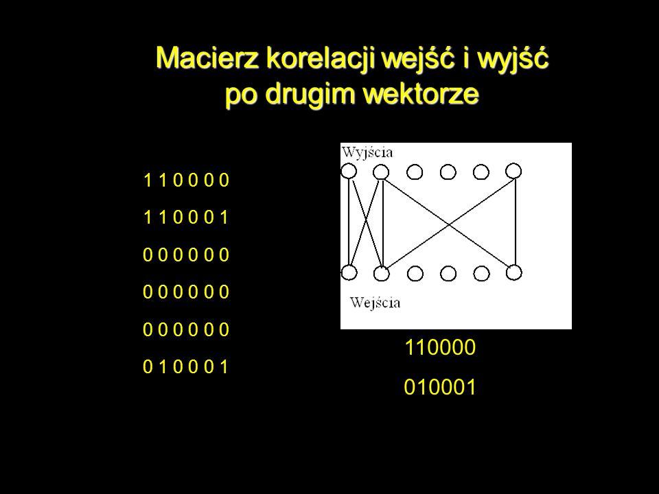 Macierz korelacji wejść i wyjść po drugim wektorze 1 1 0 0 0 0 1 1 0 0 0 1 0 0 0 0 0 0 0 1 0 0 0 1 110000 010001