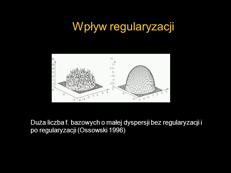 Wpływ regularyzacji Duża liczba f. bazowych o małej dyspersji bez regularyzacji i po regularyzacji (Ossowski 1996)