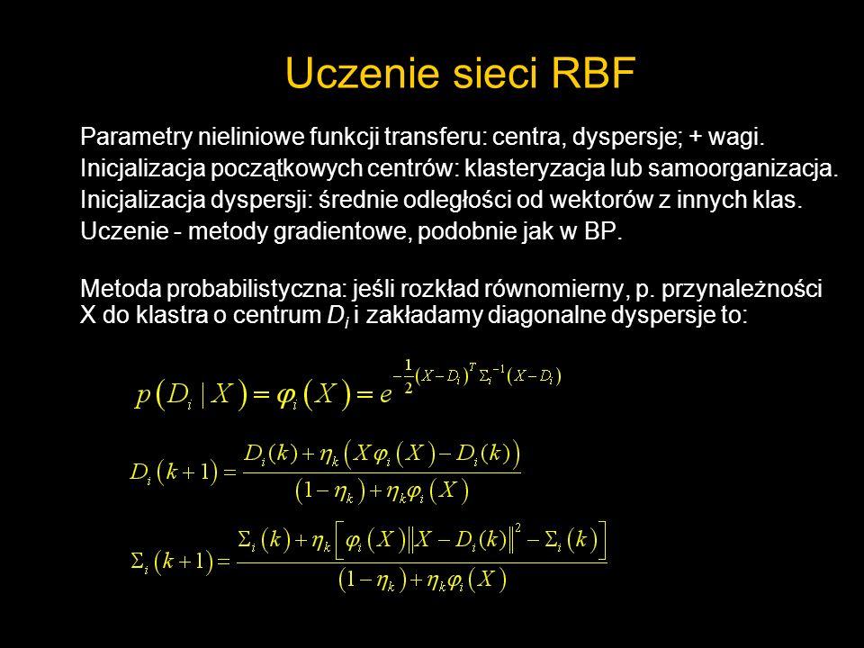 Uczenie sieci RBF Parametry nieliniowe funkcji transferu: centra, dyspersje; + wagi. Inicjalizacja początkowych centrów: klasteryzacja lub samoorganiz