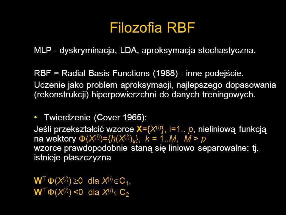 Filozofia RBF MLP - dyskryminacja, LDA, aproksymacja stochastyczna. RBF = Radial Basis Functions (1988) - inne podejście. Uczenie jako problem aproksy