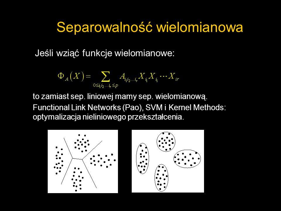 Separowalność wielomianowa Jeśli wziąć funkcje wielomianowe: to zamiast sep. liniowej mamy sep. wielomianową. Functional Link Networks (Pao), SVM i Ke