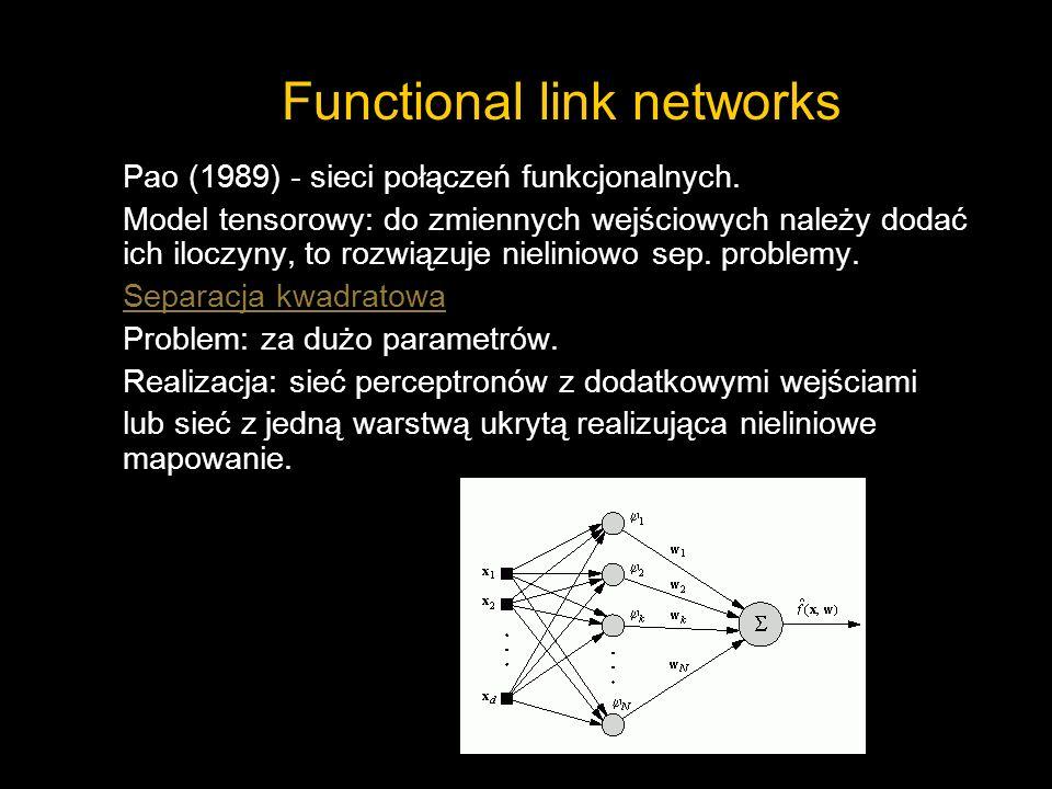 Functional link networks Pao (1989) - sieci połączeń funkcjonalnych. Model tensorowy: do zmiennych wejściowych należy dodać ich iloczyny, to rozwiązuj