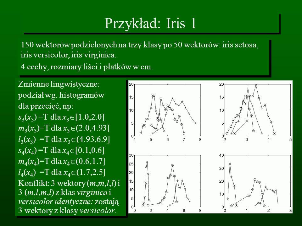 Przykład: Iris 1 150 wektorów podzielonych na trzy klasy po 50 wektorów: iris setosa, iris versicolor, iris virginica. 4 cechy, rozmiary liści i płatk