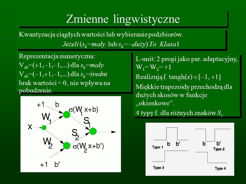 Zmienne lingwistyczne Kwantyzacja ciągłych wartości lub wybieranie podzbiorów. Jeżeli (s k =mały lub s k = duży) To Klasa1 Kwantyzacja ciągłych wartoś