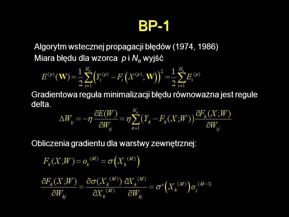 BP-1 Algorytm wstecznej propagacji błędów (1974, 1986) Miara błędu dla wzorca p i N o wyjść Gradientowa reguła minimalizacji błędu równoważna jest reg